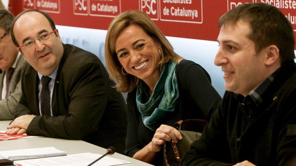 Foto: Germán Rodríguez, a la derecha, junto a Carme Chacón y Miquel Iceta, en una imagen de archivo (EFE)