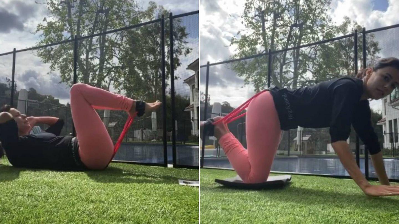 Eva Longoria y sus ejercicios para fortalecer los glúteos. (Instagram @evalongoria)