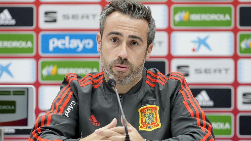 Foto: Jorge Vilda, seleccionador español femenino, en una rueda de prensa. (EFE)