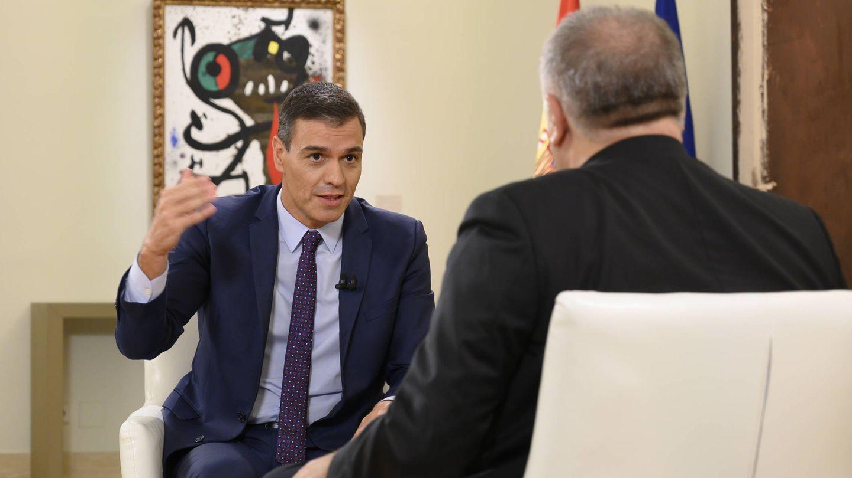 Pedro Sánchez, durante la entrevista. (EFE)