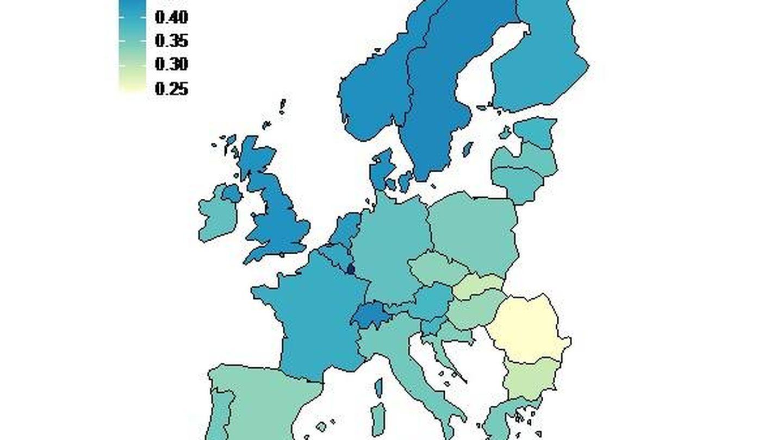 Índice de teletrabajo por países en Europa.