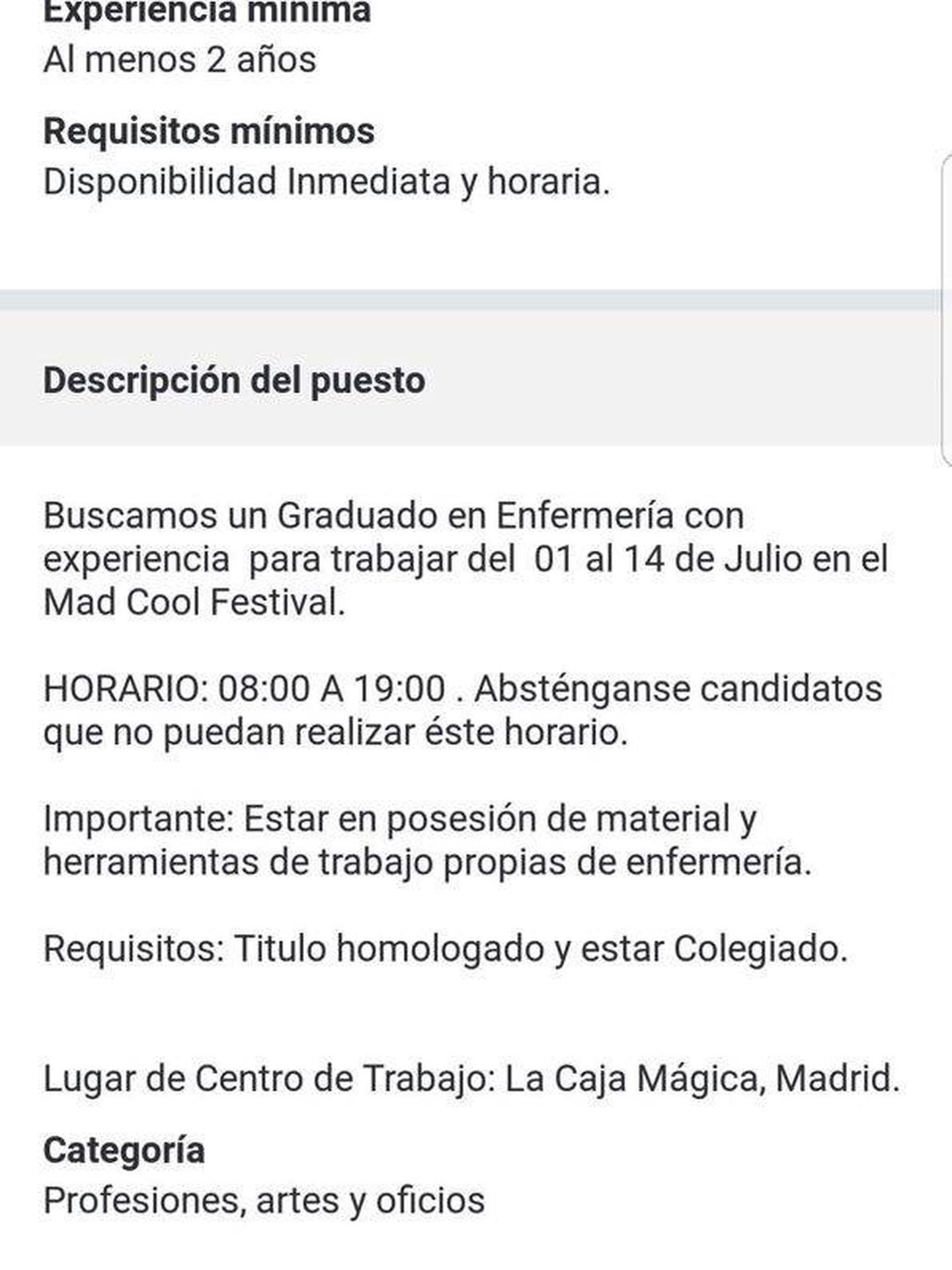 Polémica oferta de empleo del Mad Cool Festival.