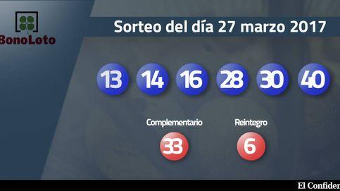 Resultados de la Bonoloto del 27 marzo 2017: números 13, 14, 16, 28, 30, 40
