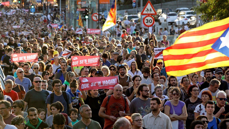 Manifestación en apoyo a los CDR detenidos, en Sabadell. (EFE)