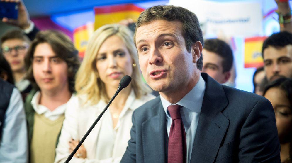 Foto: Pablo Casado llega a la sede del PP tras el segundo debate electoral (Efe)