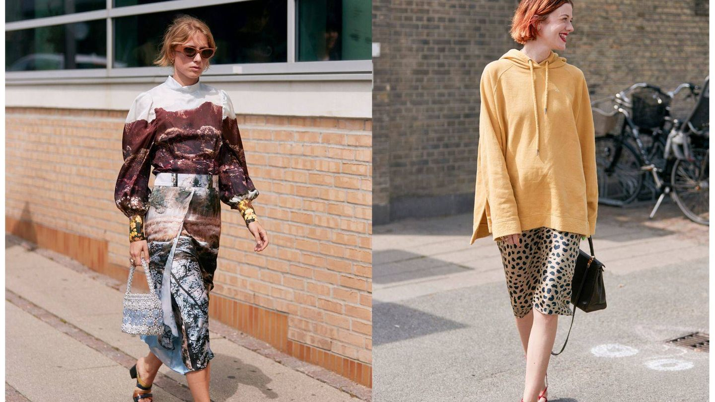 Dos insiders con faldas midi y looks antagónicos. (Imaxtree)