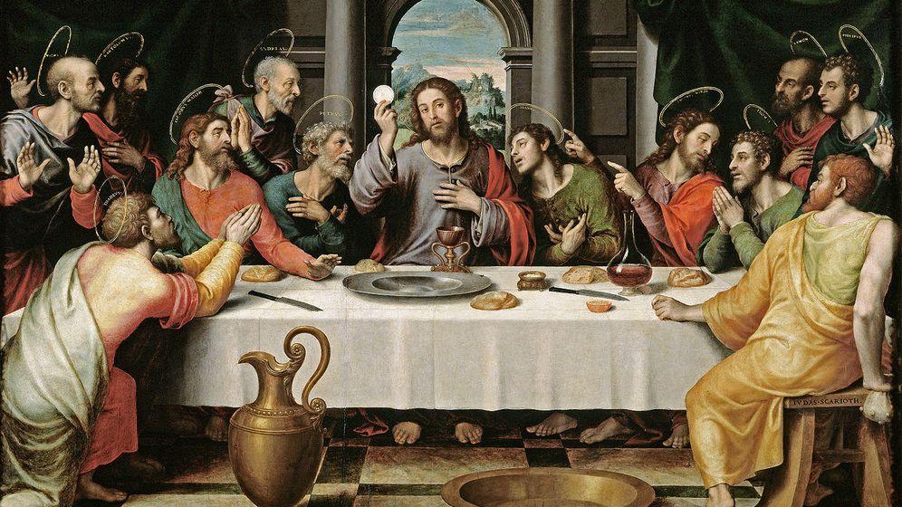 Foto: Esta obra pintada en el siglo XVI por Juan de Juanes está basada, al parecer, en la popular pintura homónima de Da Vinci: 'La Última Cena'. sobre la mesaasoma el Santo Cáliz que se conserva en la Catedral de Valencia