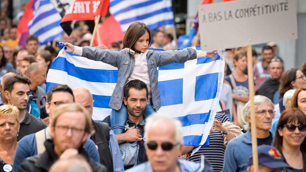 Foto: Protesta en Bélgica contra la austeridad en Grecia