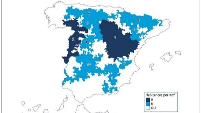 Mapa de despoblación elaborado por Serranía Celtibérica.