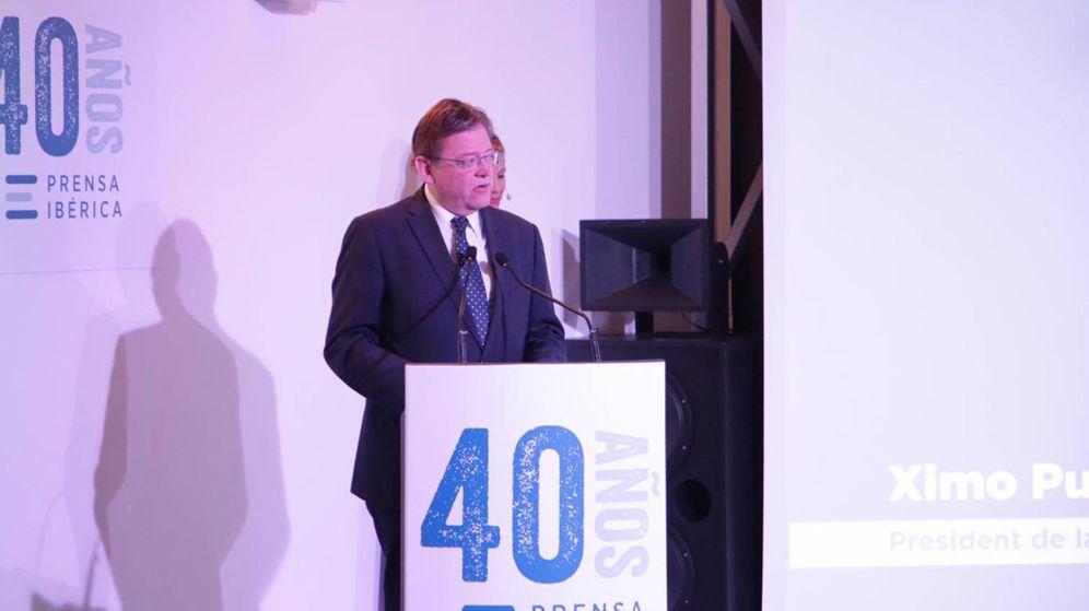 Foto: Ximo Puig, en la fiesta del 40 aniversario de Prensa Ibérica en Valencia.