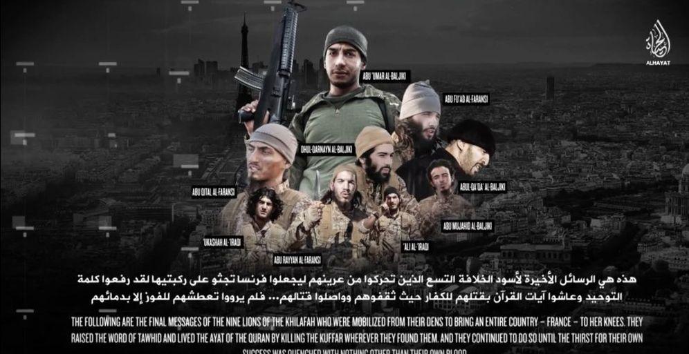 Foto: Captura de pantalla del video que muestra a los ejecutores del atentado de París entrenándose en Siria e Irak