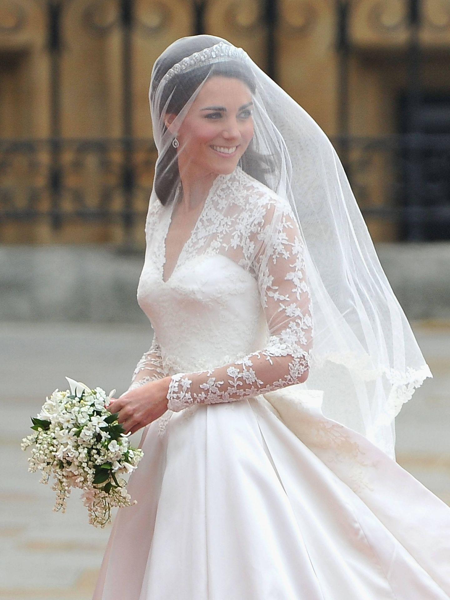 Kate Middleton, durante el día de su boda. (Getty)