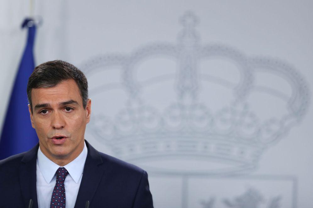 Foto: Pedro Sánchez, durante su declaración institucional en la Moncloa, este 14 de octubre. (Reuters)