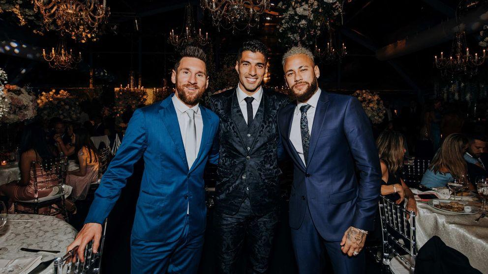 El reencuentro de la MSN: Messi, Suárez y Neymar se reúnen en la boda del uruguayo