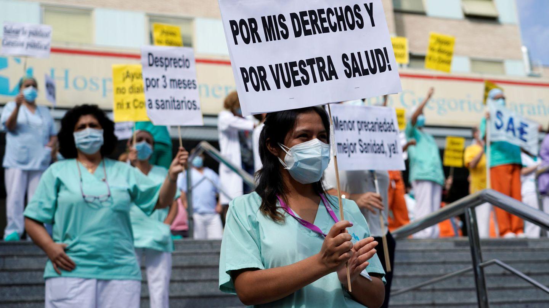 Manifestación por la mejora de las condiciones laborales del personal sanitario del Hospital Gregorio Marañón, en Madrid. (Reuters)