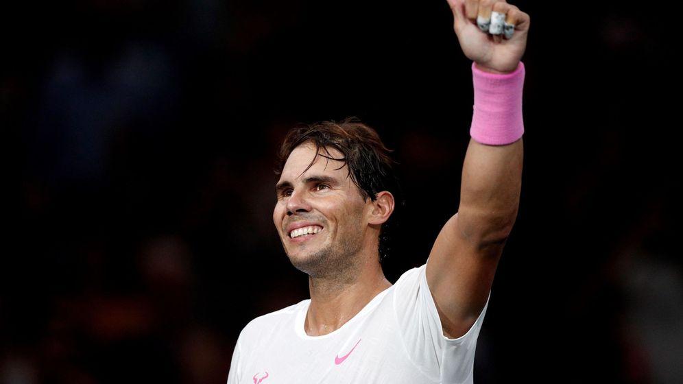 Foto: Rafael Nadal celebra su pase a cuartos de final tras ganar a Stan Wawrinka en el Masters de París. (EFE)