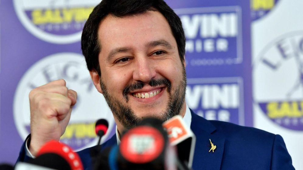 Foto: Mateo Salvini en una rueda de prensa de la Liga Norte. (Efe)