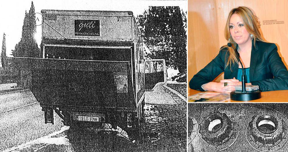 Foto: El camión que tuvo el accidente, y el depósito que llevaba sin los tapones. Arriba, la exconcejala imputada Virginia Sanz.