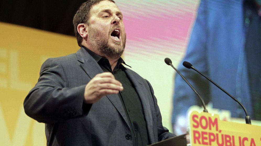 Foto: El presidente de ERC, Oriol Junqueras, en el acto de Barcelona. (EFE)