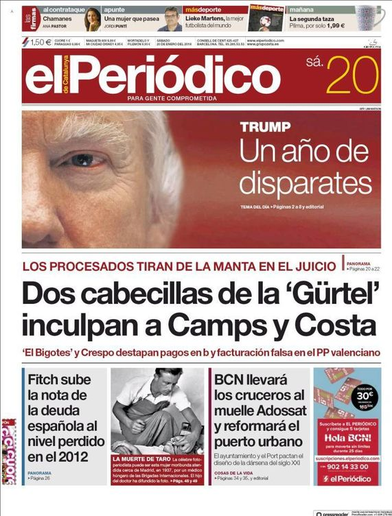 Foto: Portada de la edición en papel de 'El Periódico' del 20 de enero de 2018