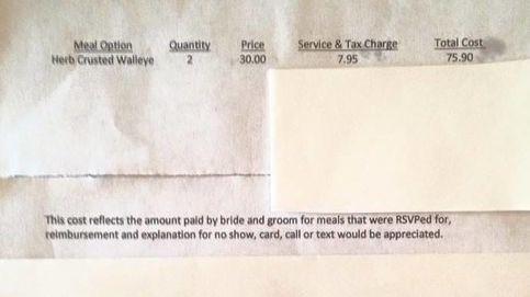 No asiste a una boda y los novios le cobran la factura por los cubiertos