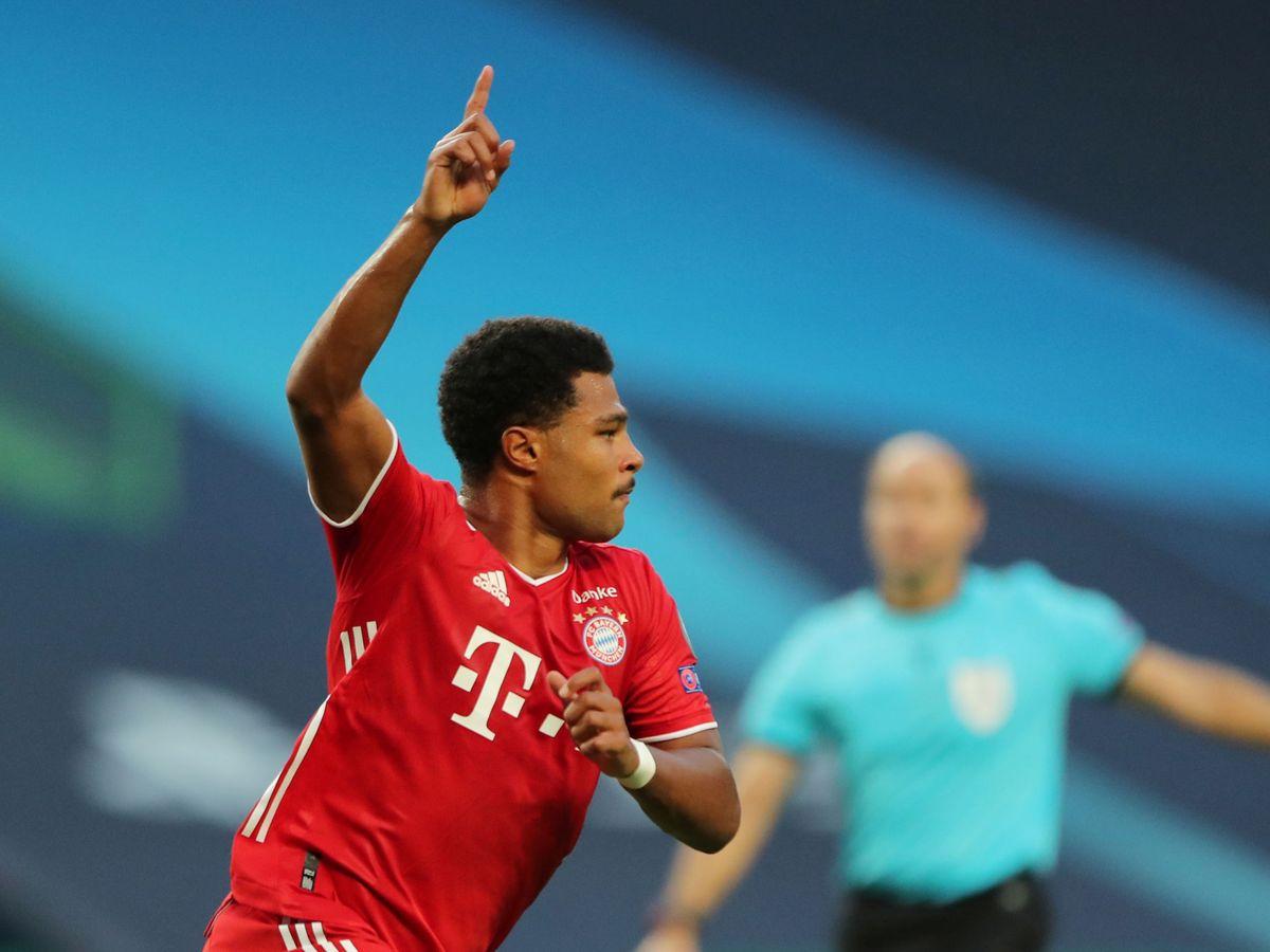 Foto: Gnabry celebra uno de sus goles frente al Olympique de Lyon. (Reuters)