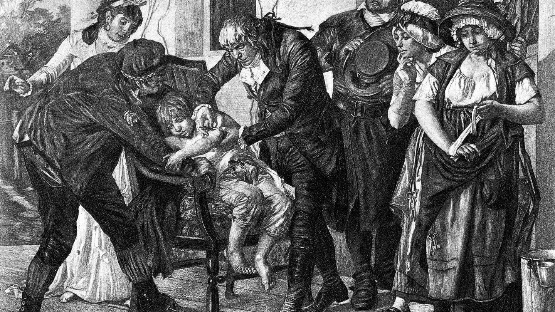 El Doctor Edward Jenner poniendo la primera vacuna de la viruela (Fuente: iStock)