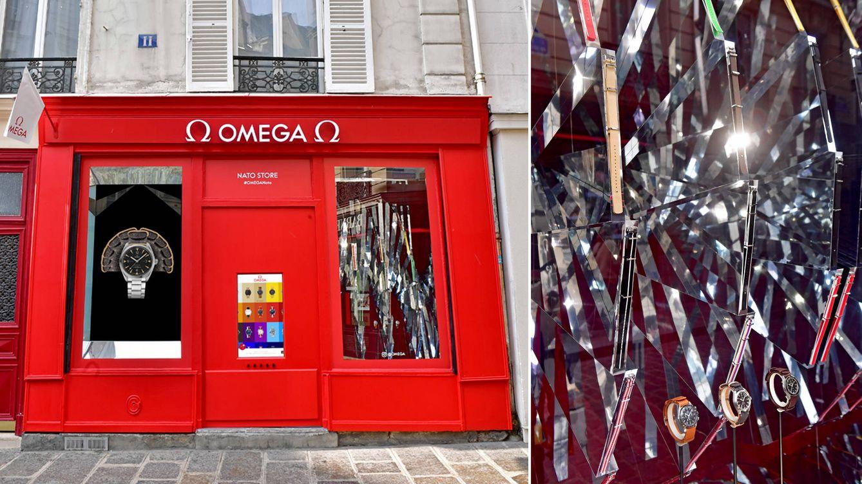 Foto: A la izquierda, imagen exterior de la nueba boutique de OMEGA. A la derecha, algunos de sus productos.