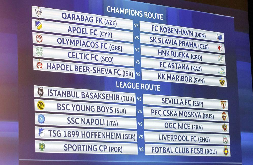 Foto: Cuadro de la eliminatoria previa de la Champions League. (EFE)
