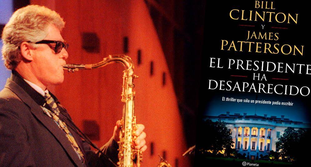 Foto: Bill Clinton, un saxo y su primera novela. (Montaje: Enrique Villarino)