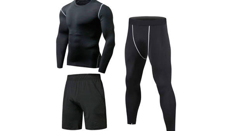 Conjunto de running para hombre: mallas, pantalón corto y camiseta