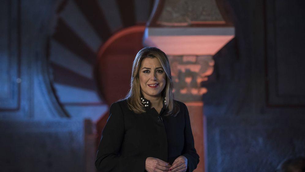 Foto:  La presidenta de la Junta de Andalucía, Susana Díaz, en el mensaje de Año Nuevo.