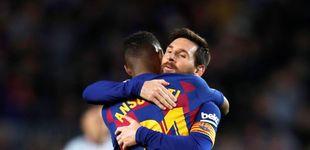 Post de Los abrazos sentidos de Leo Messi a Ansu Fati delante de Quique Setién
