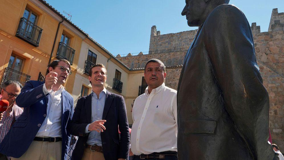 Foto: El presidente del Partido Popular, Pablo Casado, durante el acto en Ávila. (EFE)