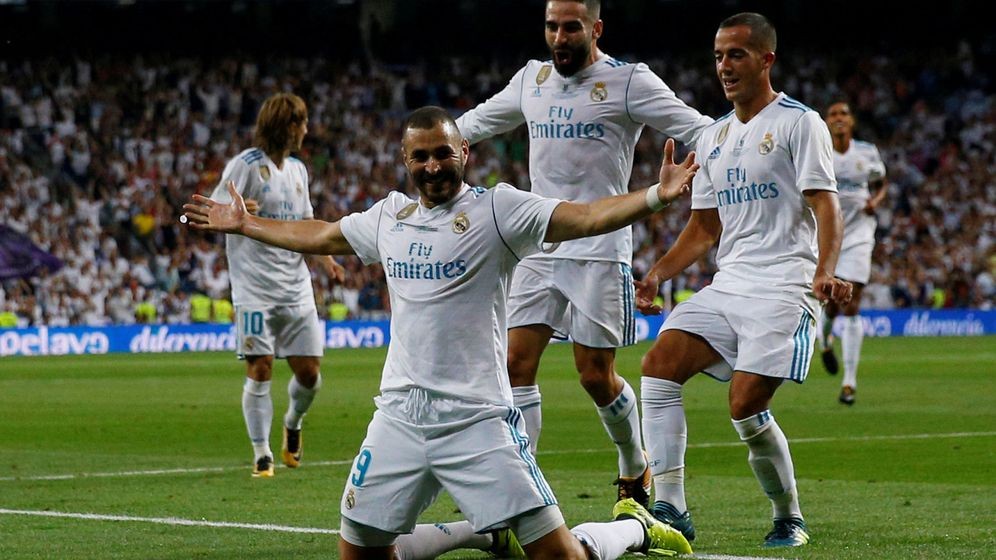 Foto: Benzema, tras el gol al Barça en la Supercopa. (Reuters)