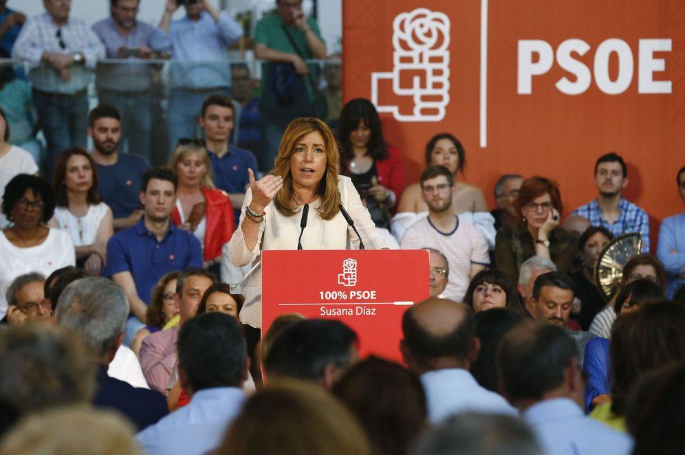 Foto: Susana Díaz, durante su intervención en un acto con militantes este 16 de mayo en Madrid. (EFE)