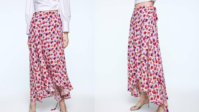 Falda lazada pareo de Zara (39,95 €).