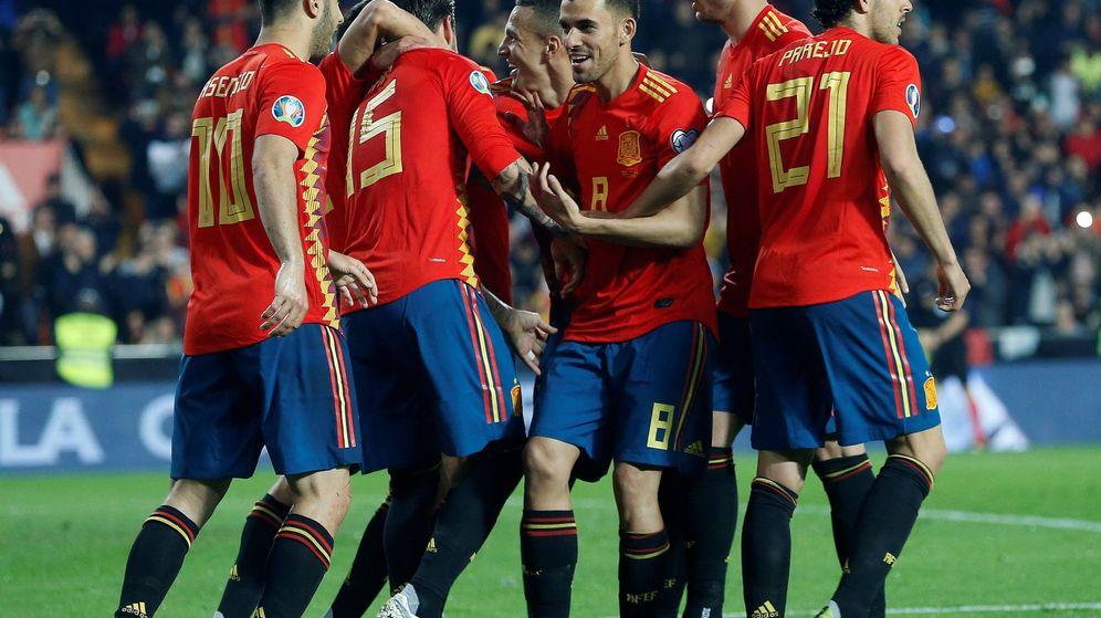 Foto: La Selección Española en Mestalla durante el partido frente a Noruega. (Efe)