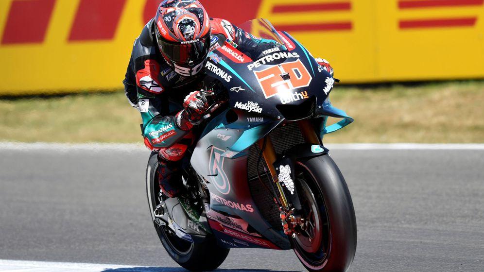 Foto: Fabio Quartararo, durante la Q2 que le dio la pole en este GP de Assen. (Reuters)