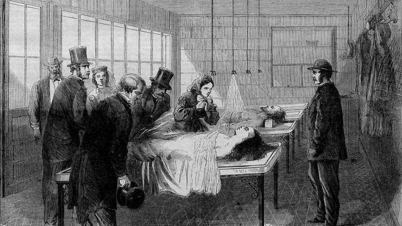 Morgue de Nueva York en 1866. Fuente: Wikipedia