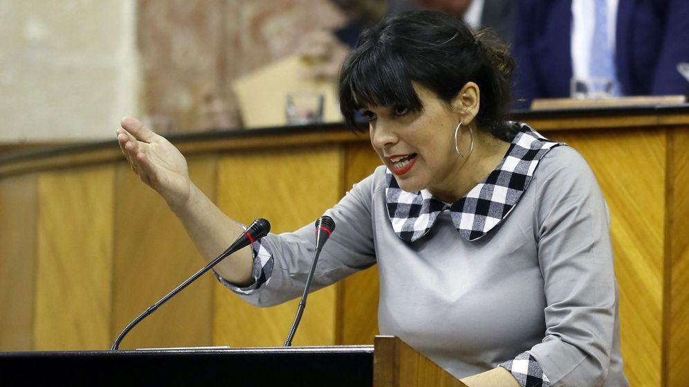 Foto: Teresa Rodríguez, en el pleno de Andalucía. (EFE)