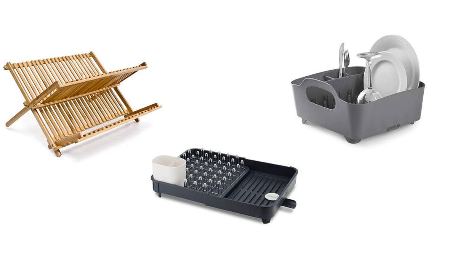 Escurridor de bamb/ú Accesorios de cocina Herramientas de limpieza Escurreplatos| Organizador de cubiertos de una pieza Escurridor de platos de madera M/&W