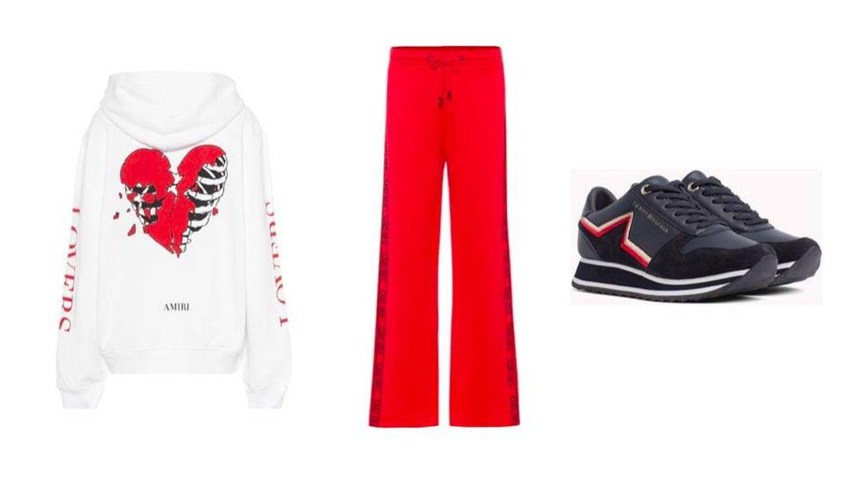 Sudadera de Amiri (625 €), pantalón de Kenzo (300 €) y zapatillas de deporte de Tommy Hilfiger (99,90 €).