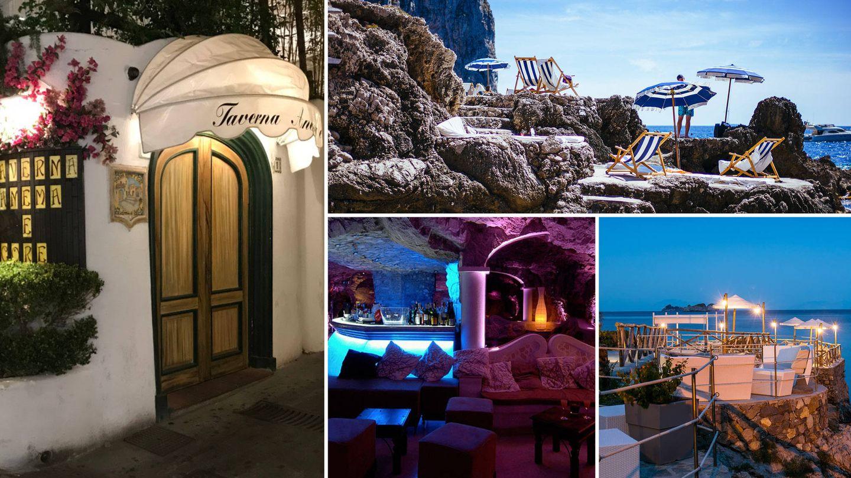 De izda a dcha. de arriba a abajo: Taverna Anema e Core, Fontenlina, Concal  del Sogno y Number Two Club
