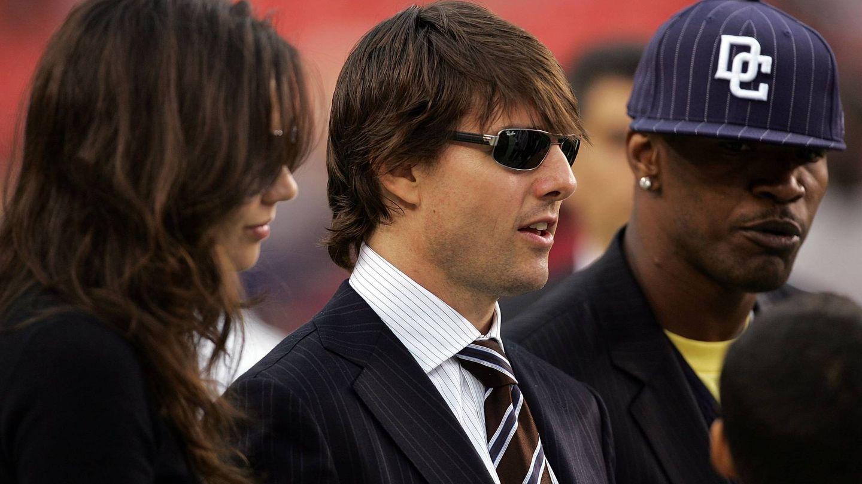 Tom Cruise, Katie Holmes y Jamie Foxx en una imagen de 2006. (Getty)