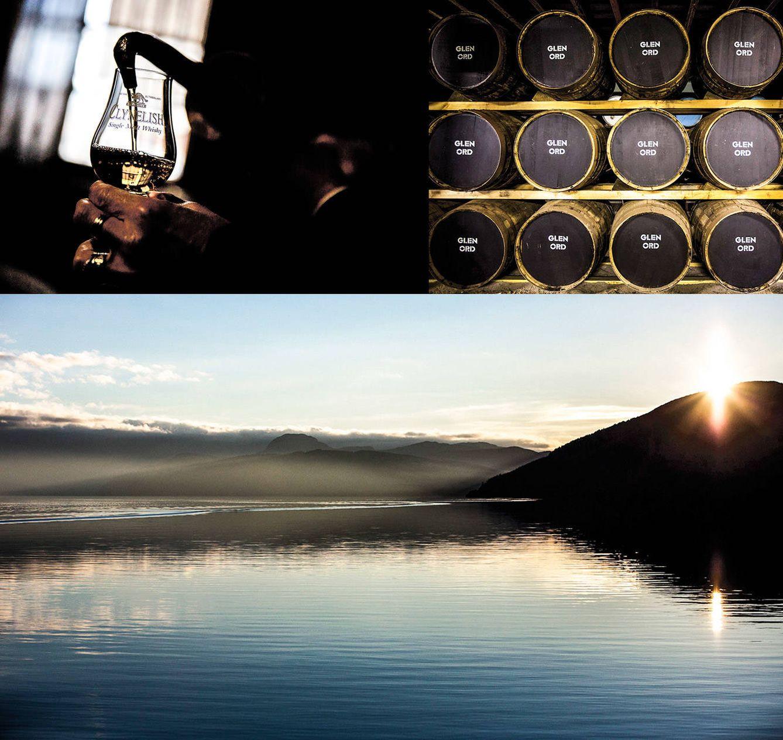 Arriba a la derecha, cata en la destilería Clynelish, en el pueblo de Brora; a su lado, barriles de la destilería Glen Ord, al norte de Inverness. Abajo, vistas del misterioso lago Ness.