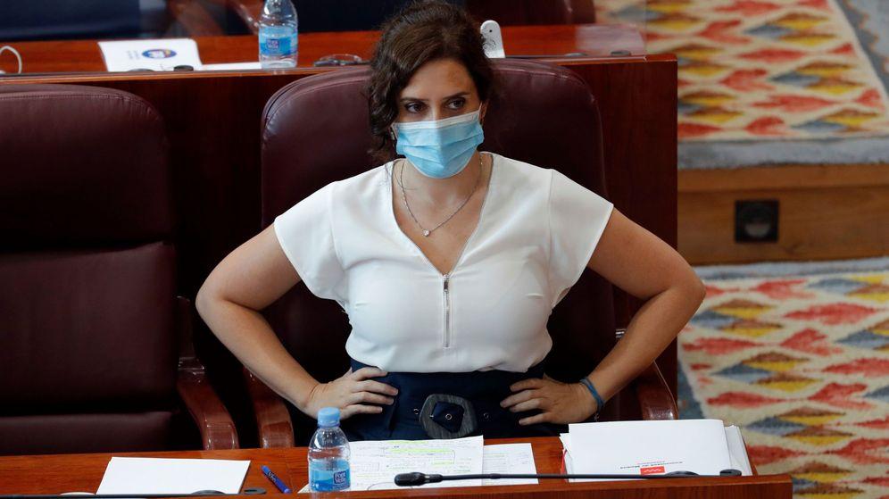 Foto: Ayuso, durante la segunda sesión del debate del estado de la Región. EFE
