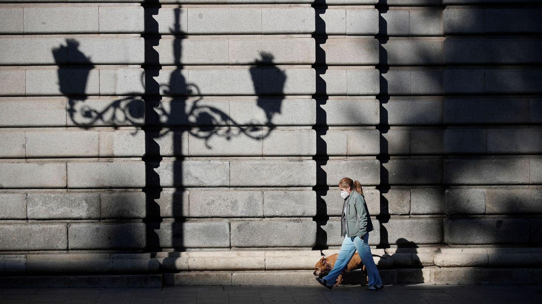 Una mujer pase a su perro este viernes por el centro de la capital. (EFE)