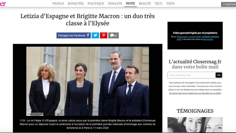 Captura del portal francés 'Closer'.