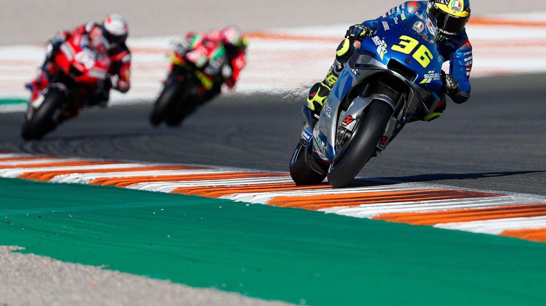 Joan Mir (Suzuki Ecstar) rueda durante la carrera en Valencia. (Efe)